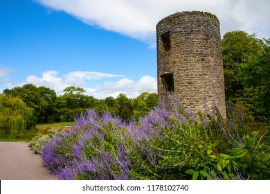 Blarney, Republic of Ireland - August 16th 2018: A lookout tower at the historic Blarney Castle in Blarney, Republic of Ireland.