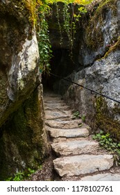 Blarney, Republic of Ireland - August 16th 2018: A view of the Wishing Steps at the historic Blarney Castle in Blarney, Republic of Ireland.