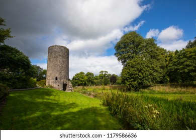 Blarney, Republic of Ireland - August 16th 2018: A view of the lookout tower at the historic Blarney Castle, in the town of Blarney, Republic of Ireland.