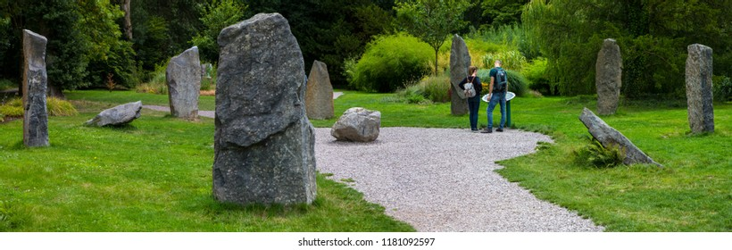 Blarney, Republic of Ireland - August 16th 2018: A panoramic view of the Seven Sisters stone circle in the beautiful grounds of Blarney Castle in Republic of Ireland.