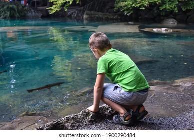 Suiza azul, hermoso lago azul en parque natural. Niño observando el agua