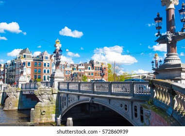 """The Blauwbrug or """"blue bridge"""" bridge connecting the Rembrandtplein area with the Waterlooplein area in Amsterdam, the Netherlands."""