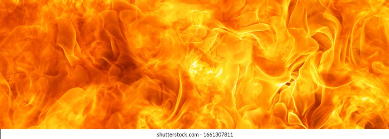 blaze fire flame conflagration texture for banner background, 3 x 1 ratio