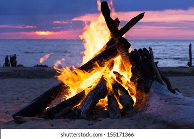 Blazing bonfire on the beach