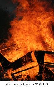 A blazing bonfire on November the 5th - guy fawkes night.