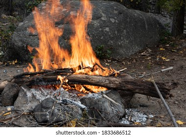 Blazing Fire built in a  River Rock Fire Ring - Ashnola River, BC