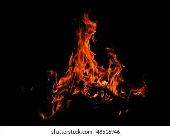 blazing fire on black