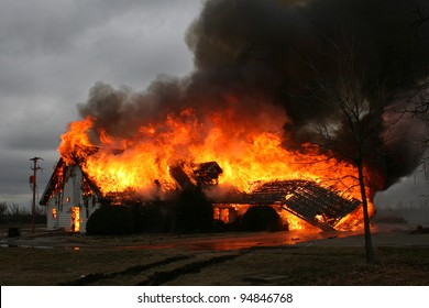 A blazing inferno shows why fire is so destructive.  This house burned to the ground in less then an hour from the fire's start.