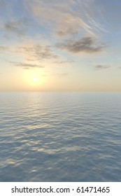 The blazing sun sets with a glowing peach-colored haze over a calm, tropical sea in this vertical image. A nice background for a greeting card.