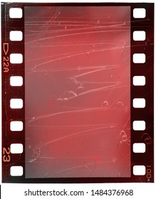bleached out 35mm film strip with scratches and red tint on white, cool photo placeholder, old film effect
