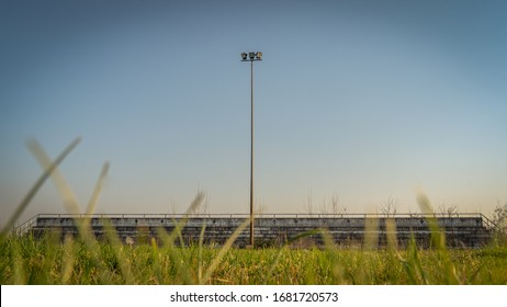 bleachers of abandoned soccer football stadium
