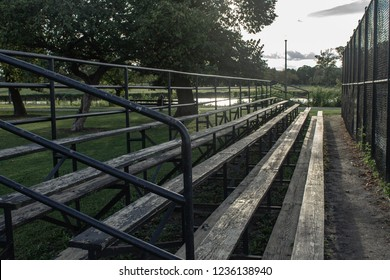 bleachers and baseball field