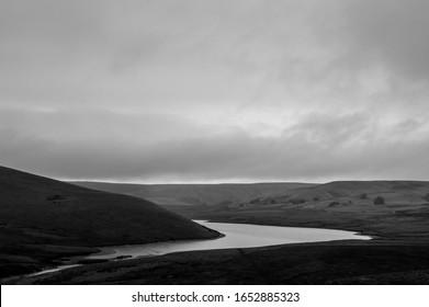 The bleak beautiful hills of the Elan Valley on a autumn day. Cronfa Ddwr Craig Goch, Elan Valley, Wales, UK