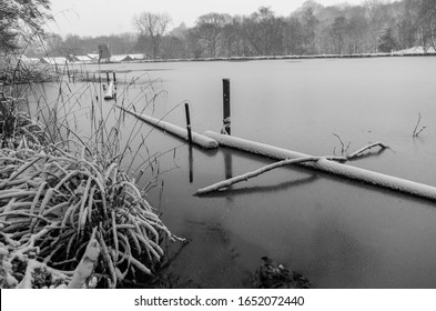 A bleak frozen lake during mid winter