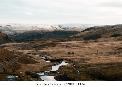 The bleak moorland and water landscape of the Elan Valley in winter. Wales. UK.