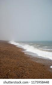 Bleak pebble beach landscape