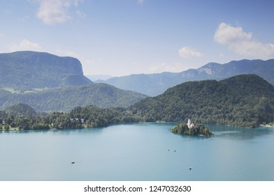 Bled Castle. Top view of the lake Bled and the castle. Popular tourist destination. Travel to Slovenia