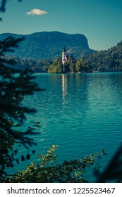 Bled church and lake in Slovenia