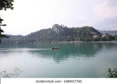 Bled/ Gorenjska/ Slovenia: July, 2nd 2018: Lake Bled (Blejsko jezero) is a lake in the Julian Alps of the Upper Carniolan region of northwestern Slovenia, where it adjoins the town of Bled.
