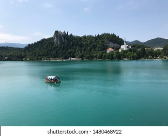 Bled/ Gorenjska/ Slovenia: July 4th 2018: Lake Bled: The traditional transportation to Bled Island is a wooden boat known as a pletna.