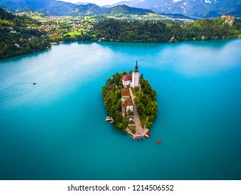 Bled Island from above Slovenia