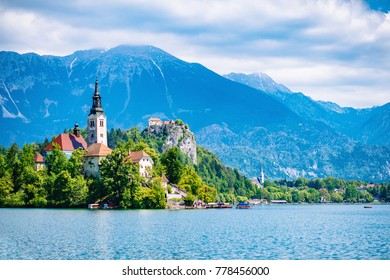 Bled lake with church island, Bled castle and mountains in background.