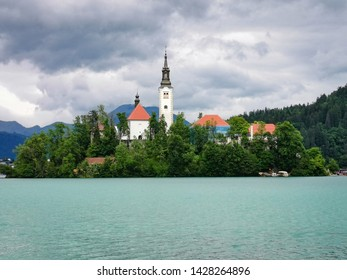 bled lake and church in slovenia