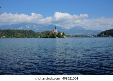 Bled lake, island and mountains in background, Slovenia, Europe