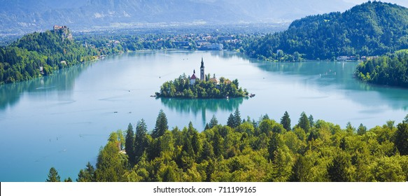 Bled lake, the most famous lake in Slovenia with the island of the church(Europe - Slovenia) - panoramic view