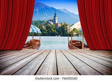 "Bled lake, the most famous lake in Slovenia with the island of the church and the typical ""pletna boats"" (Europe - Slovenia) - concept image with open theater and red curtains"