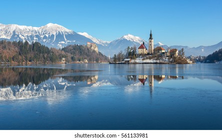 Bled Lake on a frozen winter day