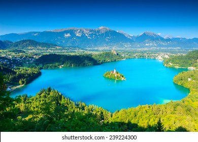 Bled Lake panorama,Slovenia,Europe