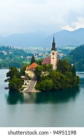 Bled Lake in Slovenia with the Assumption of Mary Church, Slovenia, Europe.