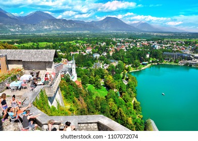 BLED LAKE , SLOVENIA - AUGUST 02, 2016 : Panoramic view of beautiful Bled lake from the famous old castle on the cliff.Bled lake Slovenia,Europe