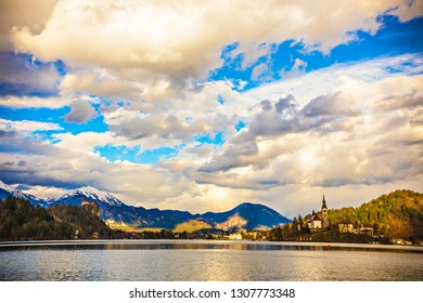 BLED, SLOVENIA - April 2018: View of Bled lake and Bled town, Slovenia. Spring landscape at Bled lake, Slovenia