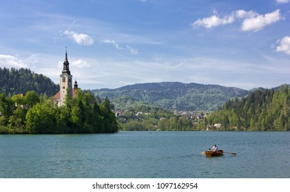 BLED, Slovenia - April 25, 2018: Lake Bled in springtime, with the Assumption church on the island