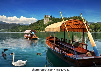 BLED ,SLOVENIA - AUGUST 04, 2016 -Traditional Pletna boat on the lake with swans. In the background is the famous old castle on the cliff. Bled lake Slovenia,Europe