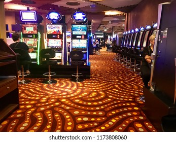 Bled, Slovenia - August 19 2018: interior of the Gaming halls in the Casino Hotel in Slovenia
