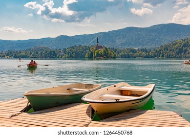 Bled, Slovenia - August 19 2018:Lake Bled is a lake of glacial origin in the Julian Alps located in the northwest of Slovenia. The area is a popular tourist destination, and its waters bathe