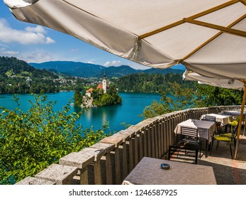 Bled, Slovenia - August 20 2016: The view from a coffee shop in Bled