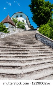 Bled, Slovenia. Beautiful Bled island steps leading to the church.