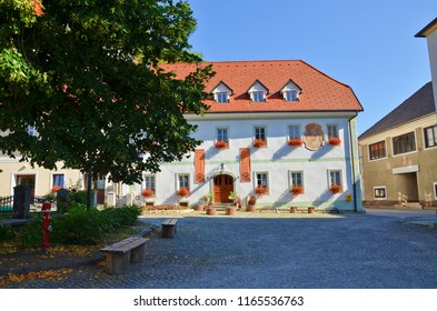 Bled, Slovenia - July 27th 2013: Buildings belonging to the St. Martin´s Parish Church. The church is located nearby the Lake Bled and the Bled Castle. It was built in the beginning of 20th century