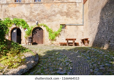 Bled, Slovenia - July 27th 2013: Inside the areal of the Bled Castle. According to written sources, it is the oldest Slovenian castle and is one of the most visited tourist attractions in Slovenia.