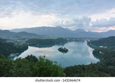 Bled, Slovenia - June 12 2019: This is an early evening view of Bled Castle, overlooking Lake Bled in the city of Bled, Slovenia.