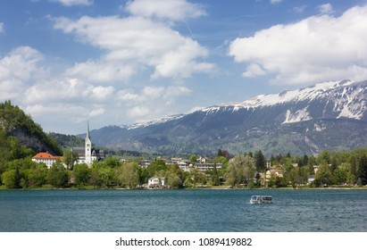 Bled, Slovenia, with its lake and Saint Martin church during springtime