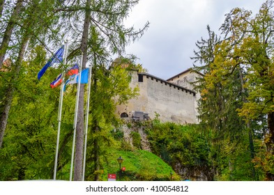BLED, SLOVENIA - OCTOBER 21, 2015:  Bled castle with wall and tower, Slovenia