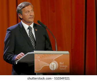 Bled, Slovenia. September 5th, 2016: Deputy Prime Minister and Minister of Foreign Affairs of Slovenia Karl Viktor Erjavec holds a speech at the opening ceremony of Business Bled Strategic Forum 2016