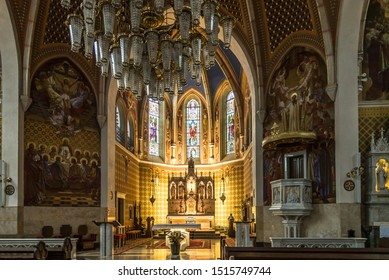 BLED,SLOVENIA - SEPTEMBER 2,2019 - View at the Interior of Saint Martin Church in Bled. Bled is a town on Lake Bled in the  northwestern Slovenia.