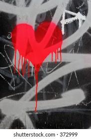 Bleeding heart graffiti