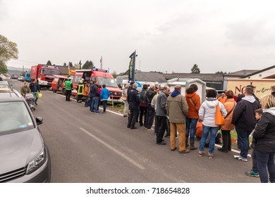BLEIALF, GERMANY, MAY 7, 2017 - Fireman demonstrate how to handle hazardous material - public demonstration